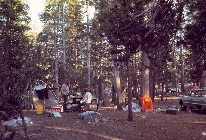 Campsite in Morning, Tuolumne Meadows, Yosemite National Park. View shot on Kodachrome II, Nikon Ftn camera,  30 July 1973