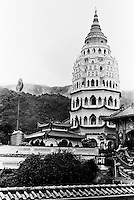 The pagoda at the Kek Lok Si Temple is the largest pagoda in Penang, Malaysia.
