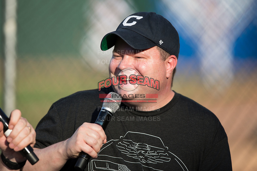 Comedian John Caparulo is interviewed on the field prior to the International League game between the Gwinnett Braves and the Charlotte Knights at BB&T BallPark on August 4, 2017 in Charlotte, North Carolina.  The Knights defeated the Braves 7-5 in a game shortened to 8 innings due to rain.  (Brian Westerholt/Four Seam Images)
