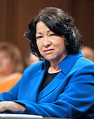 Washington, DC - July 13, 2009 -- Judge Sonia Sotomayor listens to a Senator's opening remarks as the United States Senate Judiciary Committee considers her nomination as Associate Justice of the U.S. Supreme Court on Monday, July 13, 2009..Credit: Ron Sachs / CNP