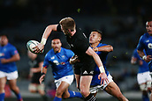 16th June 2017, Eden Park, Auckland, New Zealand; International Rugby Pasifika Challenge; New Zealand versus Samoa;  Jordie Barrett of New Zealand offloads against Tim Nanai-Williams of Samoa