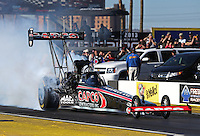 Feb. 22, 2013; Chandler, AZ, USA; NHRA top fuel dragster driver Steve Torrence during qualifying for the Arizona Nationals at Firebird International Raceway. Mandatory Credit: Mark J. Rebilas-