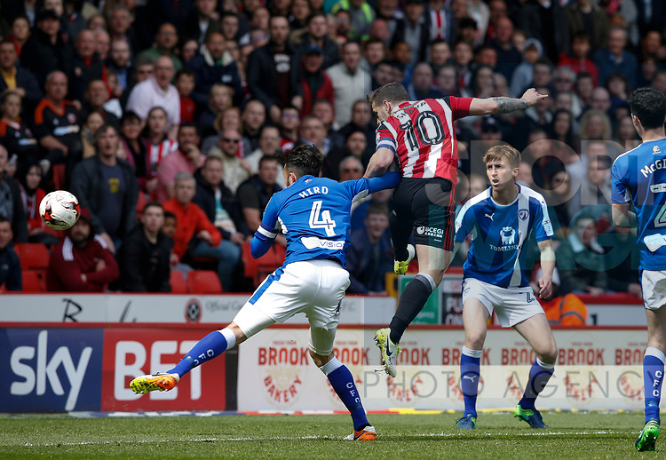 Billy Sharp of Sheffield Utd scores his goal the 2nd for Utd during the English League One match at  Bramall Lane Stadium, Sheffield. Picture date: April 30th 2017. Pic credit should read: Simon Bellis/Sportimage