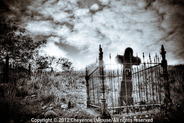 Jerome Iron Cross in cemetery - Jerome, Arizona (BW)