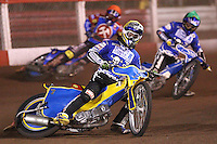 Heat 2: Daniel Davidsson (yellow), Freddie Eriksson (green) and Ricky Kling (red) - Lakeside Hammers vs Poole Pirates, Elite League Grand Final 1st leg at The Arena Essex Raceway, Lakeside - 08/08/08 - MANDATORY CREDIT: Rob Newell/TGSPHOTO