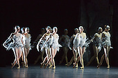 8 April 2014. London, England. Dress rehearsal of LAC after Swan Lake performed by Les Ballets de Monte Carlo at the London Coliseum. An interpretation of Swan Lake choreographed by Jean-Christophe Maillot. Music by Pyotr Ilich Tchaikovsky. With Maude Sabbourin as Sa Majesté La Nuit, The Queen of the Night, Stephan Bourgon as The Prince, Anna Behrend as the White Swan and April Ball as the Black Swan.