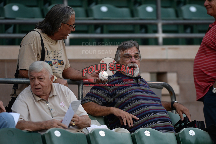 Former Milwaukee Brewers pitcher Pete Vuckovich is asked for an autograph before an Arizona Fall League game between the Mesa Solar Sox and Peoria Javelinas on October 17, 2013 at HoHoKam Park in Mesa, Arizona.  Vuckovich politely declined as the former Cy Young Award winner is known for not signing autographs.  Mesa defeated Peoria 6-1.  (Mike Janes/Four Seam Images)