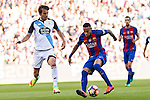 Deportivo de La Coru?a's Pedro Mosquera and FC Barcelona's Neymar Santos Jr during the La Liga match between Futbol Club Barcelona and Deportivo de la Coruna at Camp Nou Stadium Spain. October 15, 2016. (ALTERPHOTOS/Rodrigo Jimenez)