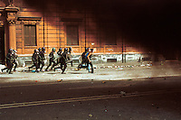 Big fight between demonstrators and Italian police during the protest against the G8 Summit in Genova on July 2001