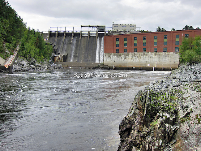 Harris Dam and Harris Station on the Kennebec River, Indian Stream Township, Somerset County, Maine, USA