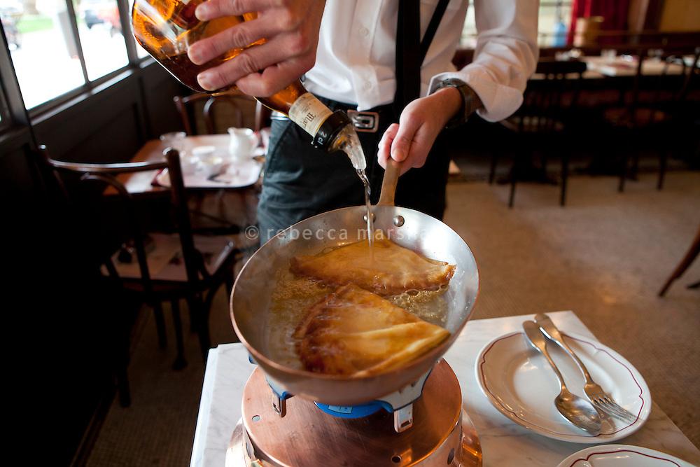 Preparation of crêpe suzette at Bouchon restaurant, Monaco, 23 March 2012.
