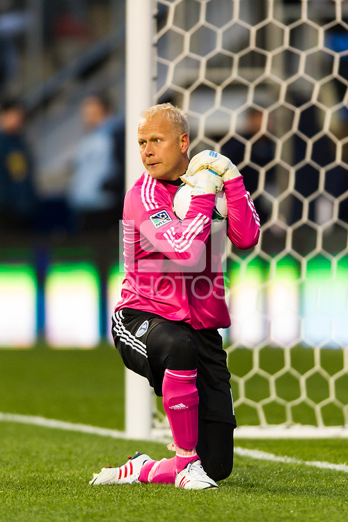 Sporting Kansas City goalkeeper Jimmy Nielsen (1). Sporting Kansas City defeated the Philadelphia Union 3-1 during a Major League Soccer (MLS) match at PPL Park in Chester, PA, on March 2, 2013.