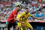 Spain national team player Sergio Busquets and Sweden national team player Marcus Berg during UEFA EURO 2020 Qualifier match between Spain and Sweden at Santiago Bernabeu Stadium in Madrid, Spain. June 10, 2019. (ALTERPHOTOS/A. Perez Meca)
