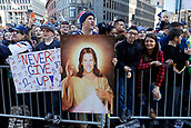 5th February 2019, Boston, Massachusetts, USA;  A painting of St Tom during the New England Patriots Super Bowl Victory Parade on February 5th 2019, through the streets of Boston, Massachusetts.