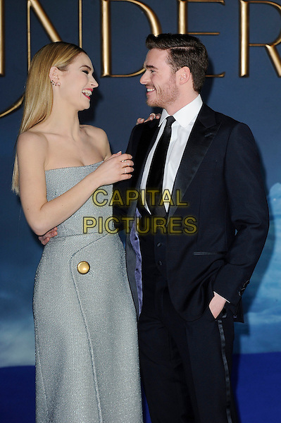LONDON, ENGLAND - MARCH 19: Lily James and Richard Madden attending the 'Cinderella' UK Premiere at Odeon Cinema, Leicester Square on March 19, 2015 in London, England<br /> CAP/MAR<br /> &copy; Martin Harris/Capital Pictures