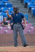 Home plate umpire A.J. Johnson signals a strike during a Carolina League game between the Salem Avalanche and the Winston-Salem Warthogs at Ernie Shore Field in Winston-Salem, NC, Thursday July 27, 2008. (Photo by Brian Westerholt / Four Seam Images)