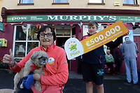 21-9-2017: Mary Murphy, Post Master, Rerrin on Bere Island in County Cork who sold a 500,000 Euro Millions Plus pictured celebrating on Thursday witgh her nephew Brendain Murphy.<br /> Photo: Don MacMonagle<br /> <br /> Issued on behlf of The National Lottery