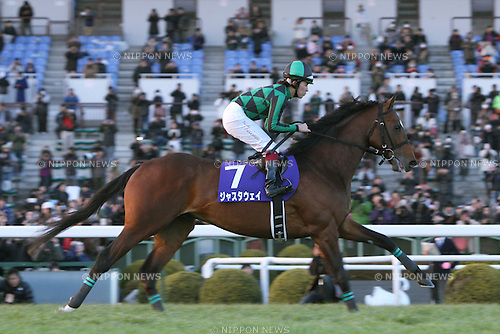 Just a Way (Yuichi Fukunaga),<br /> JANUARY 4, 2015 - Horse Racing :<br /> Just a Way ridden by Yuichi Fukunaga during his retirement ceremony at Kyoto Racecourse in Kyoto, Japan. (Photo by Eiichi Yamane/AFLO)