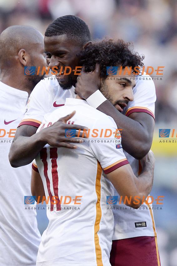 esultanza gol Mohamed Salah con Antonio Rudiger Roma. Goal celebration 0-1 <br /> Genova 02-05-2016 Football Calcio Serie A 2015/2016  Genoa - AS Roma foto Daniele Buffa/Image Sport/Insidefoto