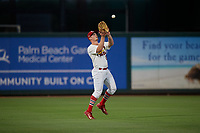 Palm Beach Cardinals left fielder Bryce Denton (25) catches a fly ball during a Florida State League game against the Daytona Tortugas on April 11, 2019 at Roger Dean Stadium in Jupiter, Florida.  Palm Beach defeated Daytona 6-0.  (Mike Janes/Four Seam Images)