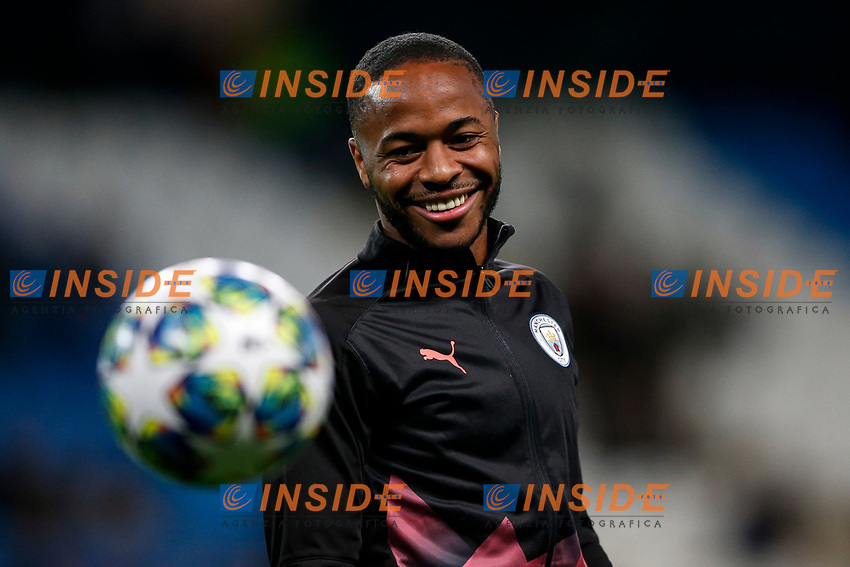 Raheem Sterling of Manchester City warms up before the UEFA Champions League Group C match between Manchester City and Dinamo Zagreb at the Etihad Stadium on October 1st 2019 in Manchester, England. (Photo by Daniel Chesterton/phcimages.com)<br /> Foto PHC/Insidefoto <br /> ITALY ONLY