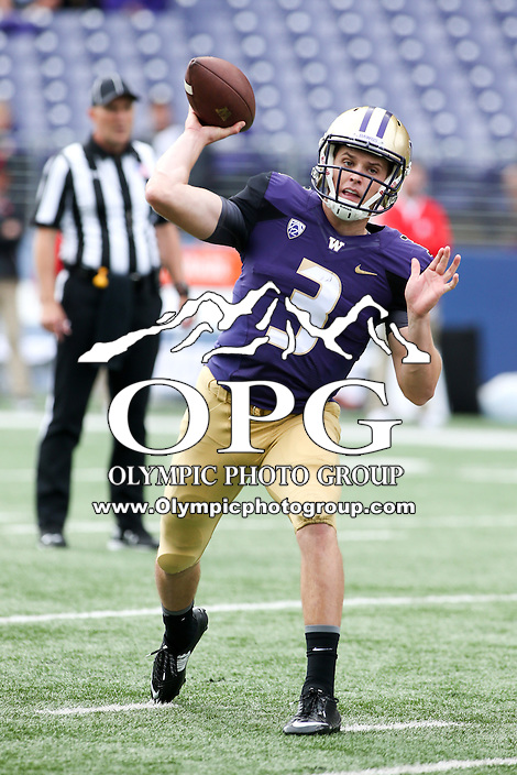 03 September 2016:  Washington quarterback #3 Jake Browning fires down field for to opening receiver against Rutgers.  Washington defeated Rutgers 48-13 at the University of Washington in Seattle, WA.