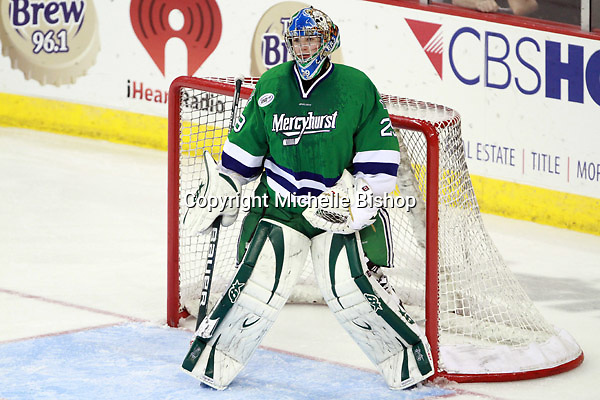 Mercyhurst goalie Max Strang. (Photo by Michelle Bishop) .