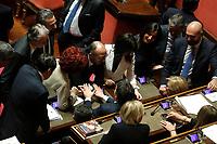 Matteo Renzi parla con i senatori del PD<br /> Roma 23/03/2018. Prima seduta al Senato dopo le elezioni.<br /> Rome March 23rd 2018. Senate. First sitting at the Senate after elections.<br /> Foto Samantha Zucchi Insidefoto