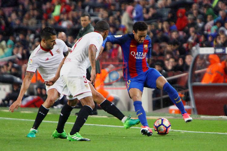 League Santander 2016/2017. Game: 30.<br /> FC Barcelona vs Sevilla FC: 3-0.<br /> Vitolo, Mariano &amp; Neymar Jr.