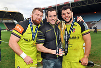 Michele Rizzo, Marcos Ayerza and Ellis Genge of Leicester Tigers pose with the Anglo-Welsh Cup trophy. Anglo-Welsh Cup Final, between Exeter Chiefs and Leicester Tigers on March 19, 2017 at the Twickenham Stoop in London, England. Photo by: Patrick Khachfe / JMP
