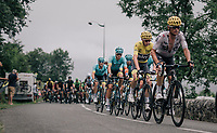 Peloton led by Team SKY up the Col des Ares (Cat2/797m/7.4km/4.6%)<br /> <br /> 104th Tour de France 2017<br /> Stage 12 - Pau &rsaquo; Peyragudes (214km)