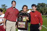 31 October 2004: Earl Koberlein, James Twellman and Bret Simon during Stanford's 2-0 win over Oregon State at Maloney Field in Stanford, CA.<br />