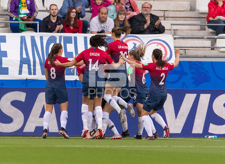 REIMS, FRANCE - JUNE 08: Ingrid Syrstad Engen #14  and teammates celebrate a goal by Guro Reiten #16 during a game between Norway and Nigeria at Stade Auguste-Delaune on June 8, 2019 in Reims, France.