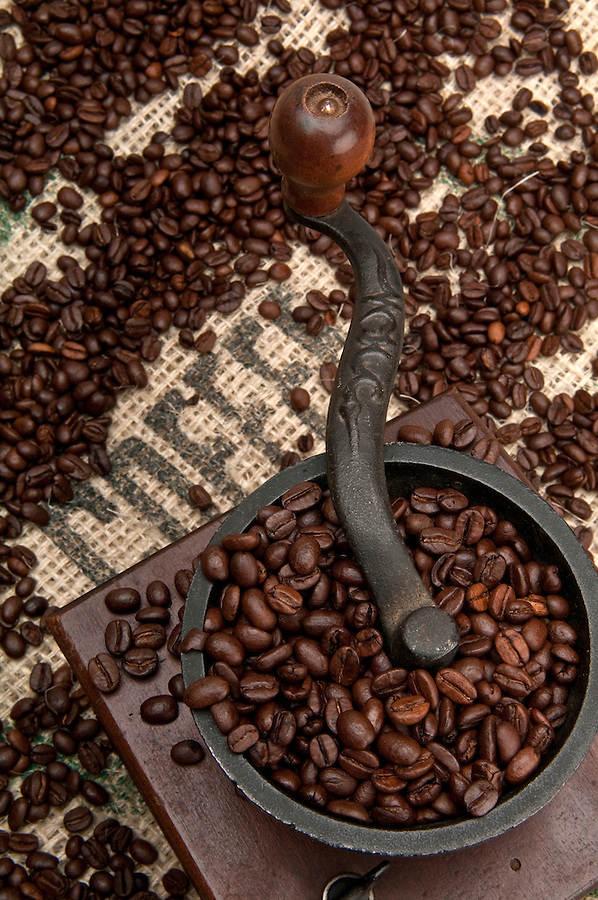 Old Grinder and Coffee Beans with Burlap.