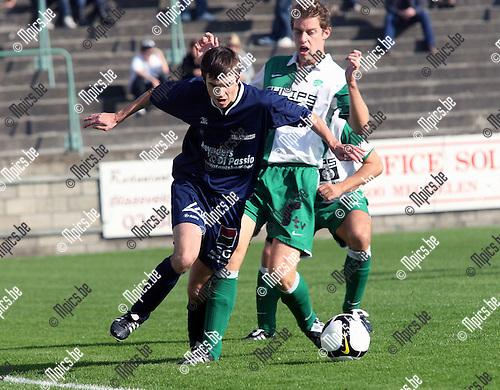 2008-10-12 / Voetbal / RC Mechelen - Tongeren / Tim Verstraeten (r, RCM) met Youri Tomasetig (To)..Foto: Maarten Straetemans (SMB)
