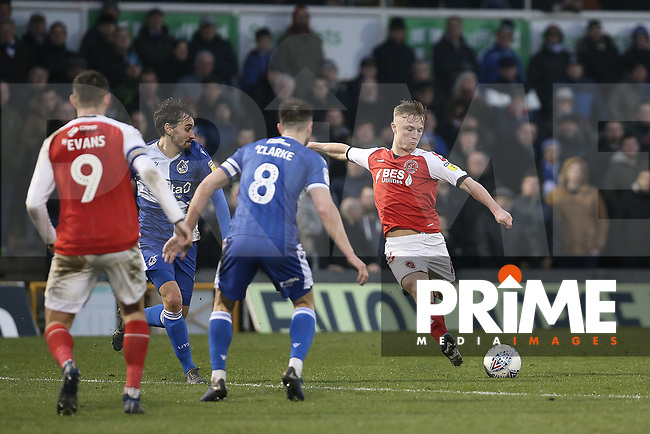 Kyle Dempsey of Fleetwood Town shoots during the Sky Bet League 1 match between Bristol Rovers and Fleetwood Town at the Memorial Stadium, Bristol, England on 25 January 2020. Photo by Dave Peters / PRiME Media Images.