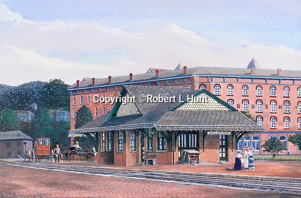 "Victorian train station in Bellefonte, PA, with the Bush House Hotel behind, circa 1900. Available as a 11"" x 17"" fine art limited edition lithograph."