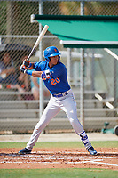 GCL Mets shortstop Mark Vientos (15) at bat during a game against the GCL Cardinals on July 23, 2017 at Roger Dean Stadium Complex in Jupiter, Florida.  GCL Cardinals defeated the GCL Mets 5-3.  (Mike Janes/Four Seam Images)