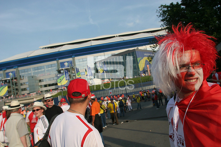 Polish National Team Fans gather outside the Gelsenkirchen World Cup Stadium before their first round match against Ecuador at the 2006 World Cup in Gelsenkirchen, Germany on Friday, June 9, 2006.  (ISI/Douglas Zimmerman)