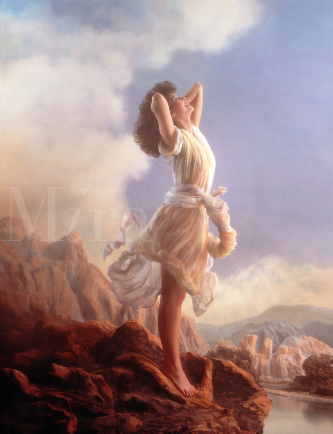A young woman in an airy dress enjoys the breeze as she stands in the light atop a mountain cliff. Inspired by the Maxfield Parrish painting - 'Ecstasy'.