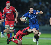 29th September 2017, RDS Arena, Dublin, Ireland; Guinness Pro14 Rugby, Leinster Rugby versus Edinburgh; Nathan Fowles (Edinburgh) tackles Joey Carbery (Leinster)