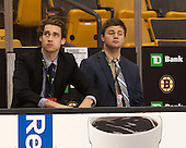 Sidelined BC goalies Ian Milosz (BC - 29) and Alex Joyce (BC - 35) - The Boston College Eagles defeated the Harvard University Crimson 3-2 in the opening round of the Beanpot on Monday, February 1, 2016, at TD Garden in Boston, Massachusetts.