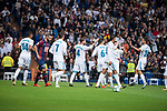 "Real Madrid Carlos Henrique Casemiro, Cristiano Ronaldo, Sergio Ramos, Nacho Fernandez, Raphael Varane, Francisco Roman ""Isco"", Marco Asensio and Dani Ceballos celebrating a goal during La Liga match between Real Madrid and Eibar at Santiago Bernabeu Stadium in Madrid, Spain. October 22, 2017. (ALTERPHOTOS/Borja B.Hojas)"