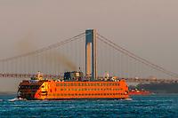 Staten Island Ferry and Verrazano-Narrows Bridge, New York, New York USA.