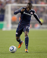 New England Revolution midfielder Sainey Nyassi (17) at midfield. In a Major League Soccer (MLS) match, the Los Angeles Galaxy defeated the New England Revolution, 1-0, at Gillette Stadium on May 28, 2011.