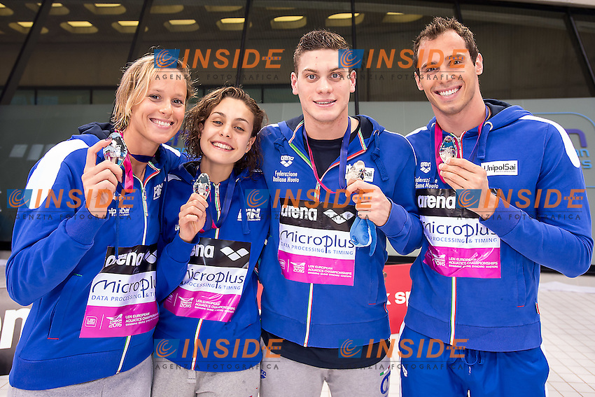 4x100 medley mixed ITA<br /> Federica Pellegrini, Martina Carraro, Simone Sabbioni, Piero Codia<br /> London, Queen Elizabeth II Olympic Park Pool <br /> LEN 2016 European Aquatics Elite Championships <br /> Swimming day 02 finals<br /> Day 09 17-05-2016<br /> Photo Giorgio Scala/Deepbluemedia/Insidefoto