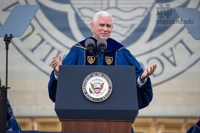 ]May 21, 2017; Commencement speaker Vice President Mike Pence delivers his address at the 2017 Commencement ceremony in Notre Dame Stadium.  (Photo by Barbara Johnston/University of Notre Dame)