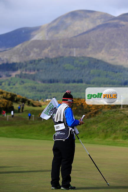 Matteo MANASSERO (ITA) caddy Brian Martin on the 12th green during round 1 of the 2015 Dubai Duty Free Irish Open, Royal County Down Golf Club, Newcastle Co Down, Northern Ireland. 28/05/2015 <br /> Picture Fran Caffrey, www.golffile.ie