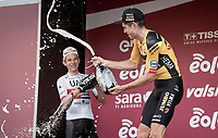 a happy Wout Van Aert (BEL/Jumbo-Visma) wins the 14th Strade Bianche 2020 and is treated to a refreshing champagne shower by runner-up Davide Formolo (ITA/UAE-Emirates)<br /> <br /> Siena > Siena: 184km (ITALY)<br /> <br /> delayed 2020 (summer!) edition because of the Covid19 pandemic > 1st post-Covid19 World Tour race after all races worldwide were cancelled in march 2020 by the UCI