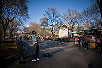 A man plays saxo during the beginning of spring season at Central park in New York, United States. 20/03/2012.  Photo by Eduardo Munoz Alvarez / VIEWpress.